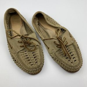 Frye Woven Leather Moccasin Shoes
